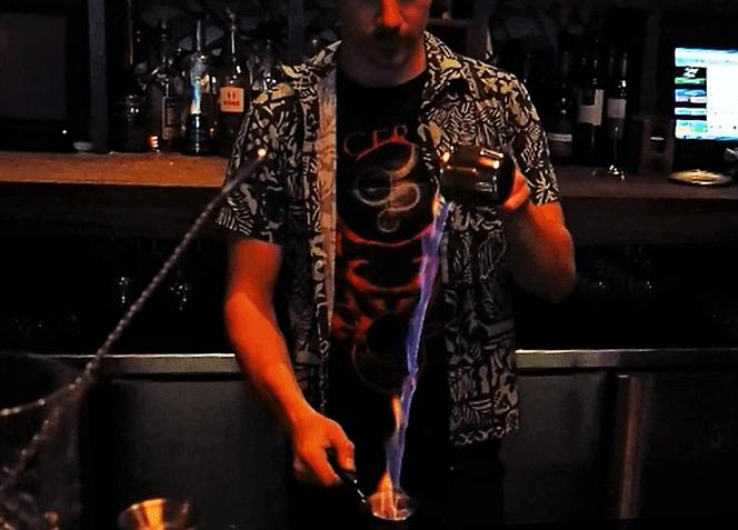 Freddy Mixing Fire & Talisker Whisky